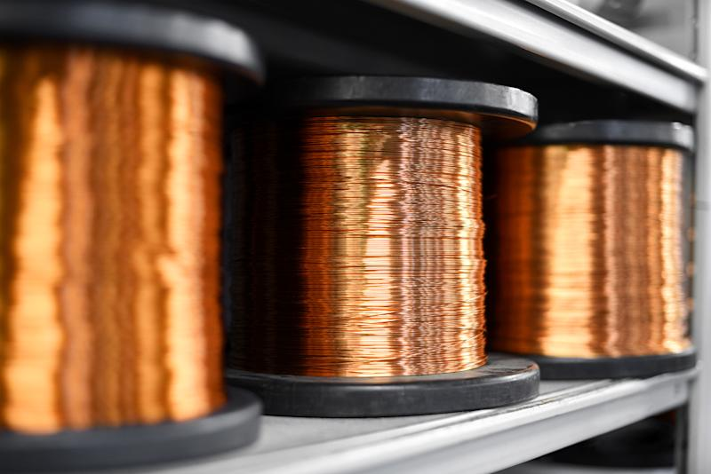 Several coils of copper wire.