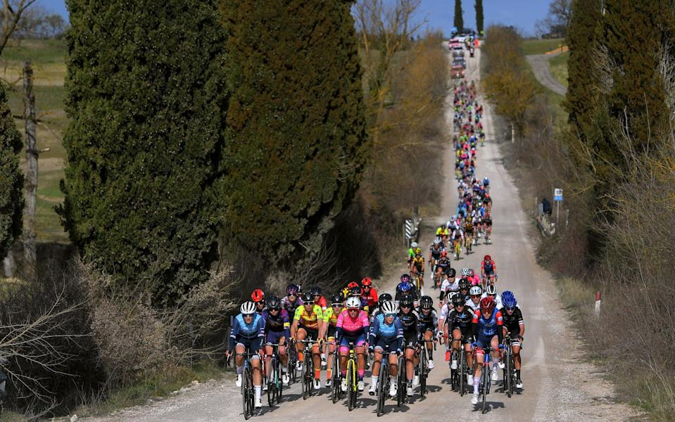 The women's edition of Strade Bianche got under way at 8.17am (GMT) - GETTY IMAGES