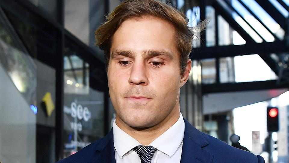 Jack de Belin leaves the Downing Centre District Court in Sydney, Monday, May 10, 2021. (AAP Image/Joel Carrett) NO ARCHIVING