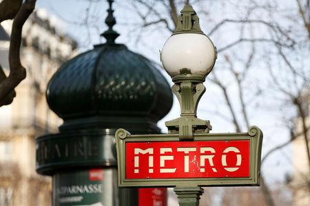 FILE PHOTO: A Metro sign is seen at Reaumur Sebastopol station in Paris, France, January 25, 2016. REUTERS/Charles Platiau/File Photo