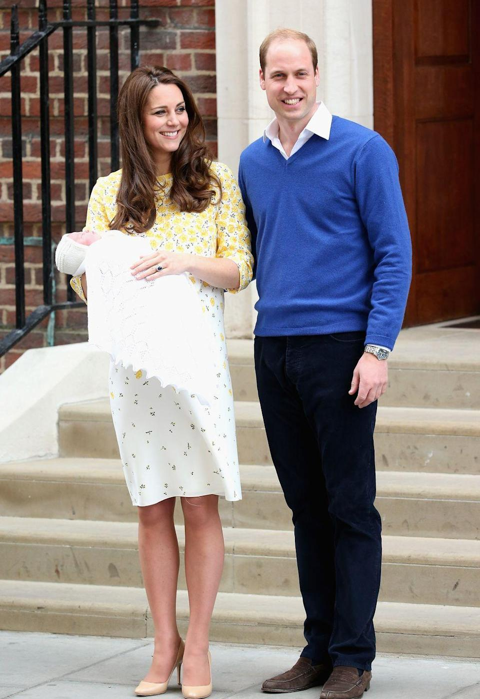 """<p>""""<a href=""""http://people.com/royals/royal-baby-kate-middleton-labor-details-and-epidural/"""" rel=""""nofollow noopener"""" target=""""_blank"""" data-ylk=""""slk:Everything went extremely well"""" class=""""link rapid-noclick-resp"""">Everything went extremely well</a>"""" during the birth of Princess Charlotte at 8:34 a.m. on May 2, 2015, according to <em>People</em>. The duchess gave birth two-and-a-half hours and <a href=""""https://www.usmagazine.com/celebrity-moms/news/kate-middleton-birth-details-royal-baby-delivered-without-epidural-201545/"""" rel=""""nofollow noopener"""" target=""""_blank"""" data-ylk=""""slk:without an epidural"""" class=""""link rapid-noclick-resp"""">without an epidural</a> after being admitted to the Lindo Wing of St. Mary's Hospital, and she and her husband """"celebrated the birth by toasting champagne."""" </p><p><em>Left</em>: The Duke and Duchess of Cambridge leave St. Mary's Hospital with the newborn Princess Charlotte on May 2, 2015.</p>"""