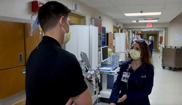PHOTO: Erika Mergl, Nurse Manager for Tampa General Hospital's Global Emerging Diseases Institute speaks with ABC News' Trevor Ault in Florida. (ABC News)