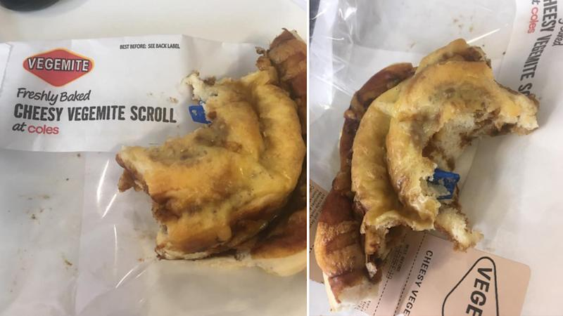 A blue band aid inside of a baked Coles pastry