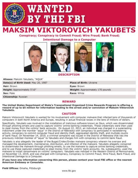Maksim Yakubets is seen on a wanted poster distributed by the Federal Bureau of Investigation (FBI) released in Washington