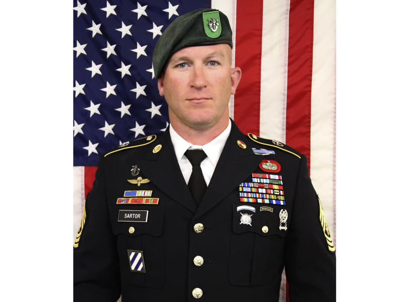"Sgt. Maj. James G. ""Ryan"" Sartor is seen in an undated photo provided by the U.S. Army Special Operations Command.  A spokeswoman for the U.S. Army Special Operations Command said in a statement Sunday that Sartor was killed Saturday, July 13, 2019 during combat operations in Faryab Province, Afghanistan. (U.S. Army Special Operations Command via AP)"