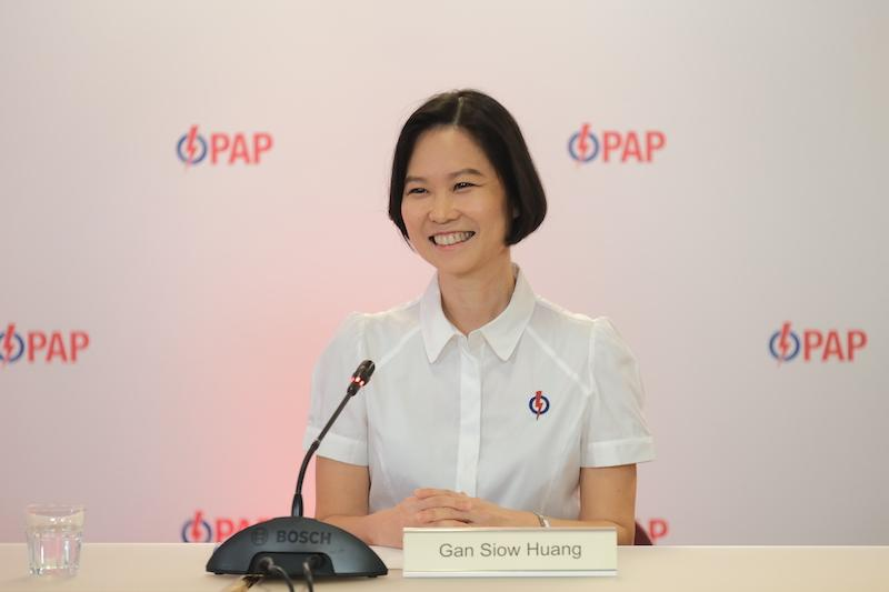 New People's Action Party candidate Gan Siow Huang, 46, addressing reporters at a virtual briefing on Friday, 26 June 2020. Gan was the Singapore Armed Forces' first female general. PHOTO: People's Action Party