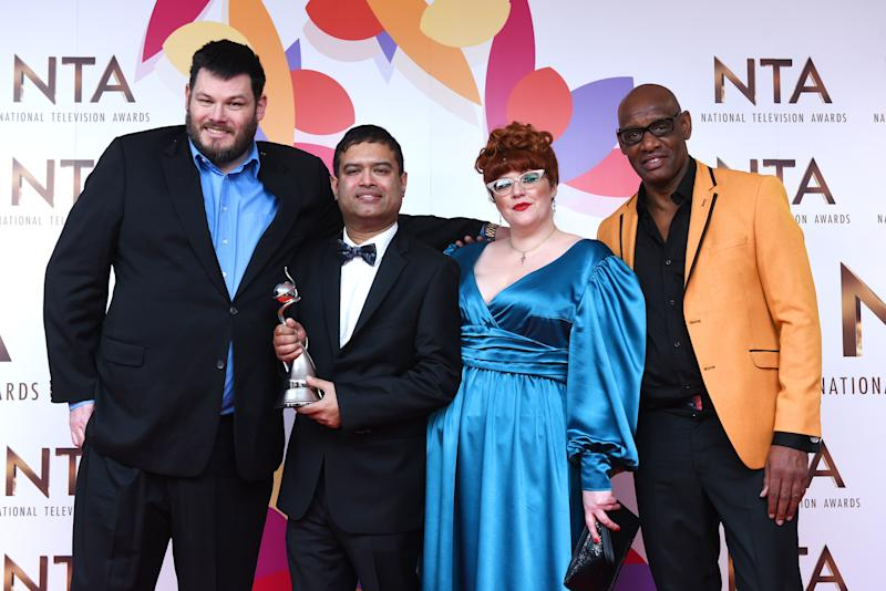 Mark Labbett, Paul Sinha, Jenny Ryan and Shaun Wallace of The Chase with the Best Quiz Show in the winners room during the National Television Awards held at The O2 Arena on January 22, 2019 in London, England. (Photo by Joe Maher/WireImage)