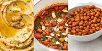 """<p>What's not to love about a can of chickpeas? The store-cupboard ingredient is high in protein and packed with all sort of goodness, making it one of the perfect meat alternatives. Delicious in <a href=""""https://www.delish.com/uk/cooking/recipes/g33455599/best-curry-recipes/"""" rel=""""nofollow noopener"""" target=""""_blank"""" data-ylk=""""slk:curries"""" class=""""link rapid-noclick-resp"""">curries</a>, <a href=""""https://www.delish.com/uk/cooking/recipes/g32997531/summer-salads/"""" rel=""""nofollow noopener"""" target=""""_blank"""" data-ylk=""""slk:salads"""" class=""""link rapid-noclick-resp"""">salads</a> and (of course) <a href=""""https://www.delish.com/uk/cooking/recipes/g34093221/hummus-recipes/"""" rel=""""nofollow noopener"""" target=""""_blank"""" data-ylk=""""slk:hummus"""" class=""""link rapid-noclick-resp"""">hummus</a>, it can't possibly be any more versatile. So, if you're on the hunt for a range of scrumptious, healthy chickpea recipes, we've got you covered! With everything from <a href=""""https://www.delish.com/uk/cooking/recipes/a34092710/best-homemade-hummus-recipe/"""" rel=""""nofollow noopener"""" target=""""_blank"""" data-ylk=""""slk:Classic Hummus"""" class=""""link rapid-noclick-resp"""">Classic Hummus</a> to <a href=""""https://www.delish.com/uk/cooking/recipes/a29782603/sweet-potato-chickpea-curry/"""" rel=""""nofollow noopener"""" target=""""_blank"""" data-ylk=""""slk:Sweet Potato and Chickpea Curry"""" class=""""link rapid-noclick-resp"""">Sweet Potato and Chickpea Curry</a>, <a href=""""https://www.delish.com/uk/cooking/recipes/a28840153/crispy-chickpea-fritters-tzatziki-tomato-salad-recipe/"""" rel=""""nofollow noopener"""" target=""""_blank"""" data-ylk=""""slk:Chickpea Fritters"""" class=""""link rapid-noclick-resp"""">Chickpea Fritters</a> to <a href=""""https://www.delish.com/uk/cooking/recipes/a34665040/roasted-chickpeas-recipe/"""" rel=""""nofollow noopener"""" target=""""_blank"""" data-ylk=""""slk:Roasted Chickpeas"""" class=""""link rapid-noclick-resp"""">Roasted Chickpeas</a>, you're bound to find something to tickle your tastebuds. </p>"""