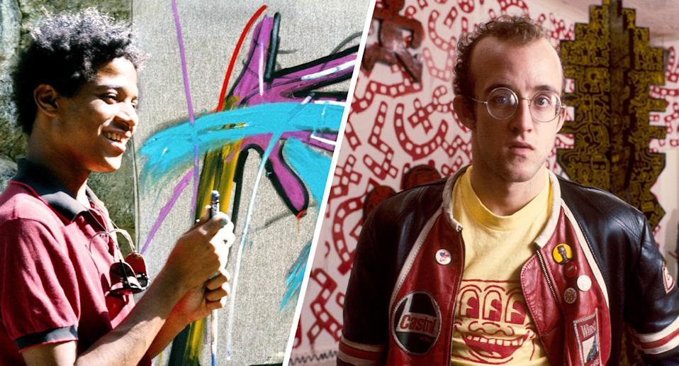 Artists Jean-Michel Basquiat and Keith Haring. (Photos: Lee Jaffe/Getty Images, Paulo Fridman/Corbis via Getty Images)