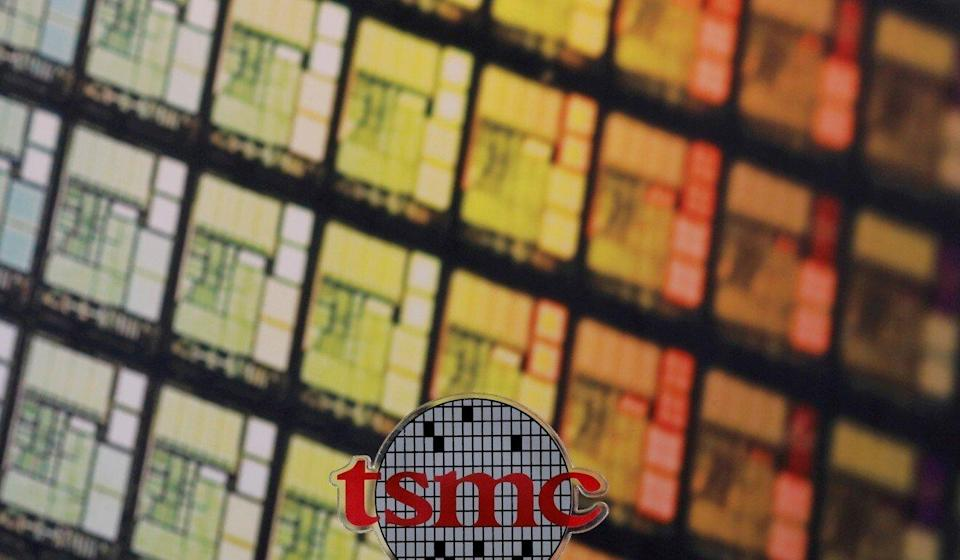 A logo of Taiwan Semiconductor Manufacturing Co (TSMC) at its headquarters in Hsinchu, Taiwan. Photo: Reuters