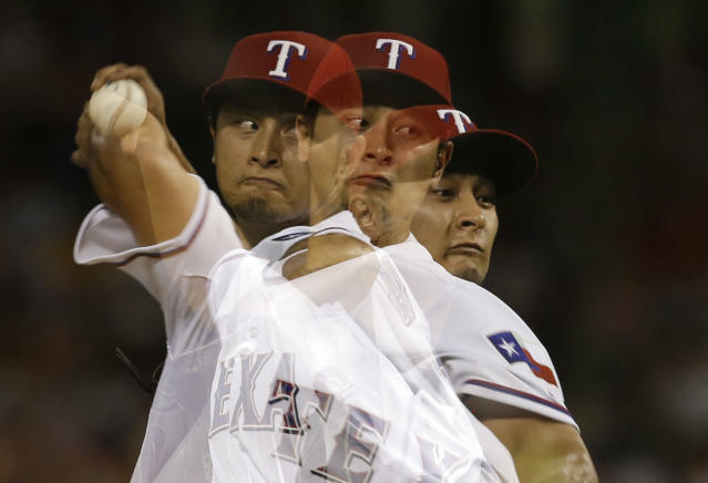 In this multiple exposure, Texas Rangers' Yu Darvish, of Japan, works against the Minnesota Twins in the sixth inning of a baseball game, Friday, Aug. 30, 2013, in Arlington, Texas. (AP Photo/Tony Gutierrez)