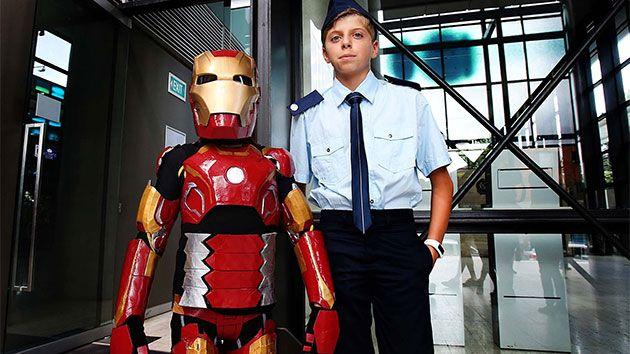 Iron Boy (Domenic) with Captain Rhodes (Domenic's brother Joseph). Photo: NSW Police