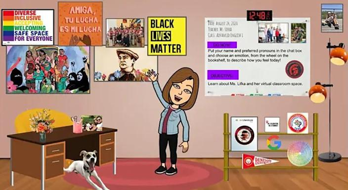 Taylor Lifka's virtual classroom with posters like the ones in her real classroom. (Taylor Lifka)