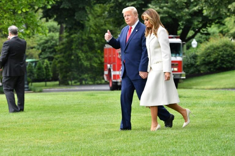 US President Donald Trump leaving the White House on May 25 2020 with First Lady Melania (AFP Photo/Nicholas Kamm)