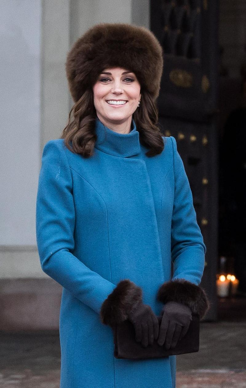 Kate also wore this 'fur' hat during the tour. Photo: Getty