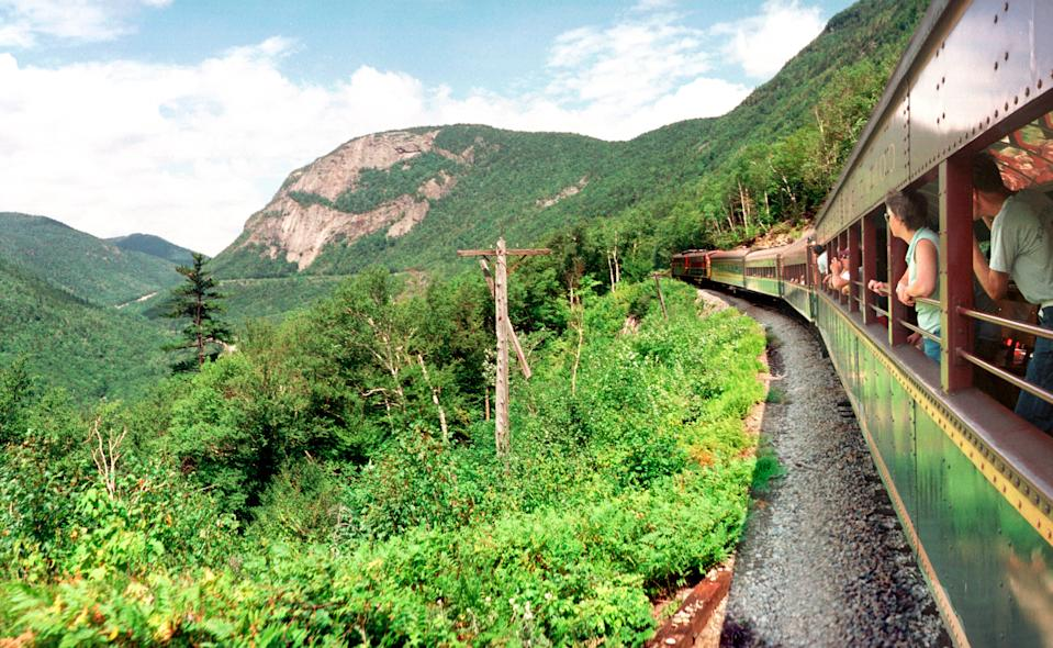 Visitors to New Hampshire's Conway Scenic Railway can take a ride to Crawford Notch.