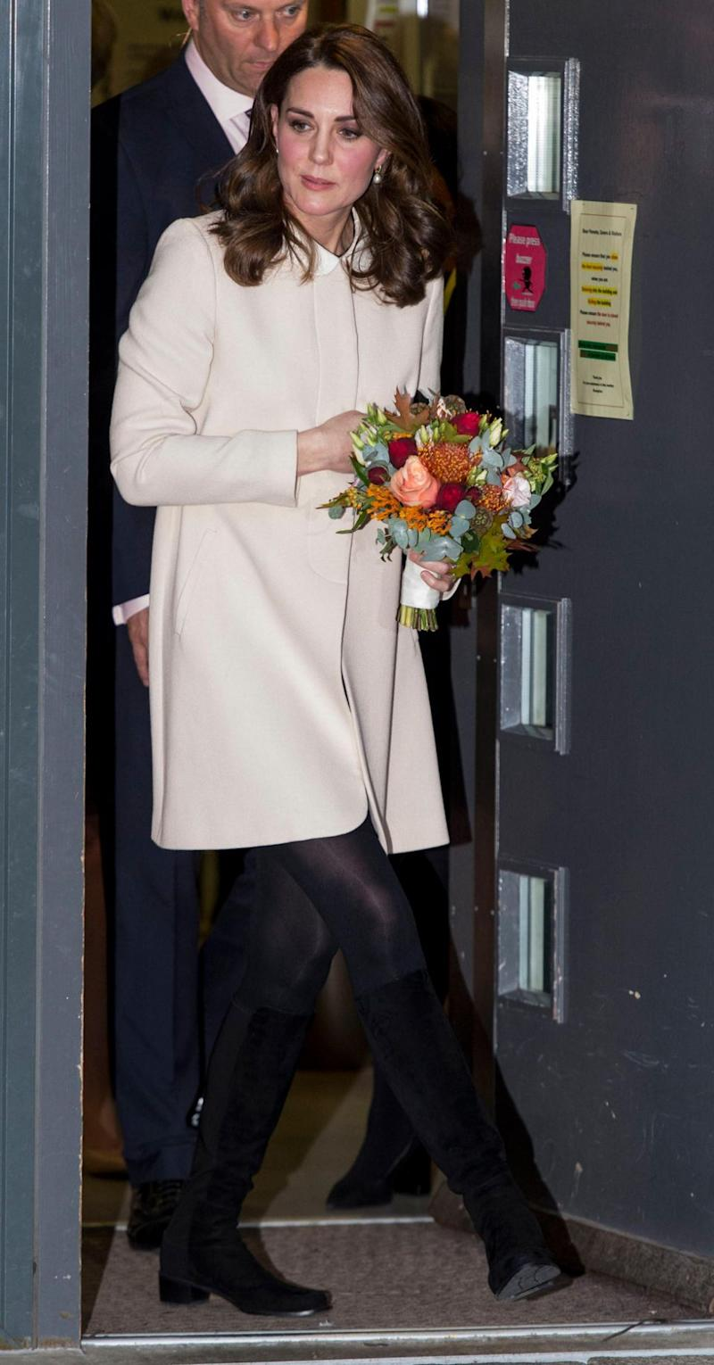 She looked stunning in a cream, A-line coat by the designer, Goat. Photo: Getty Images