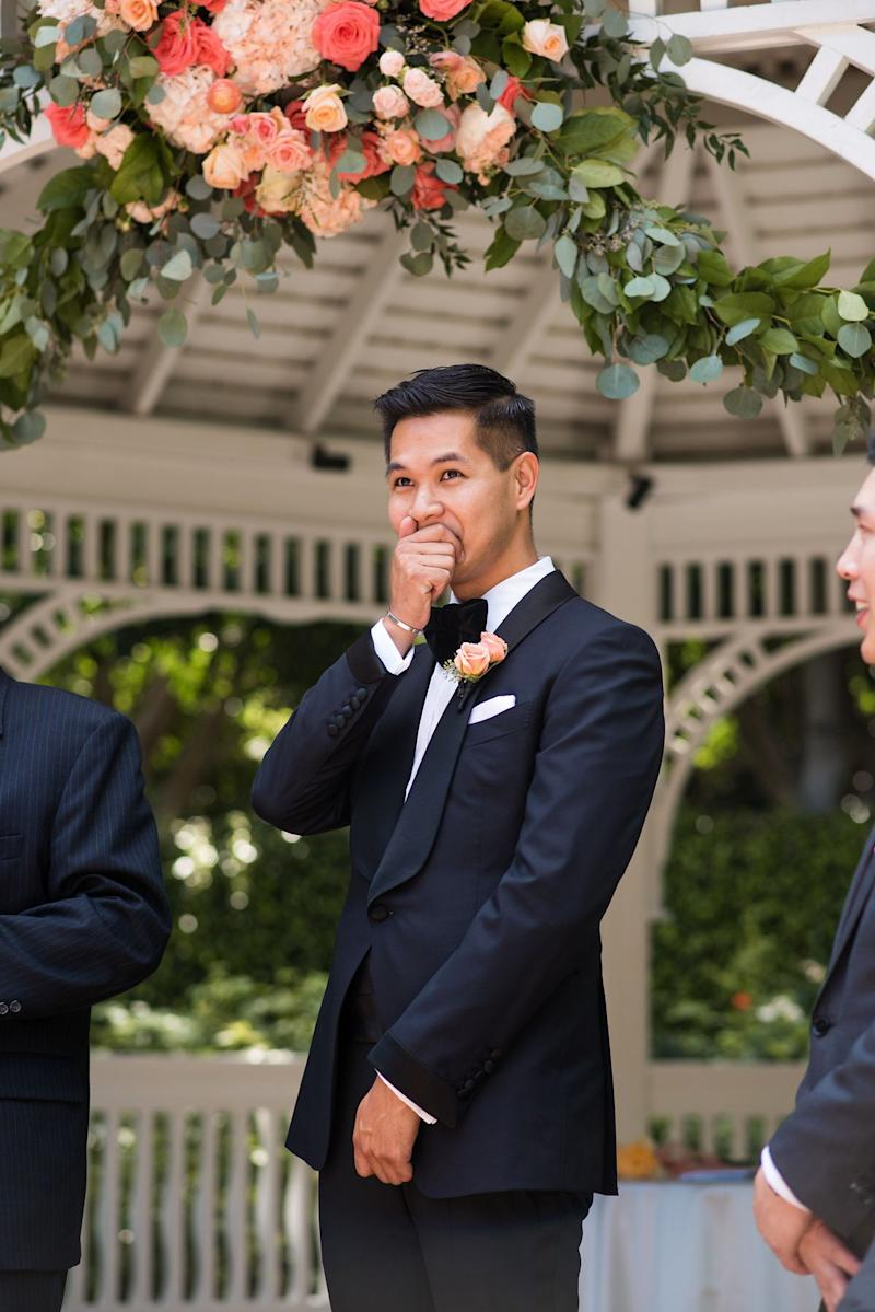 The groom's face says it all.