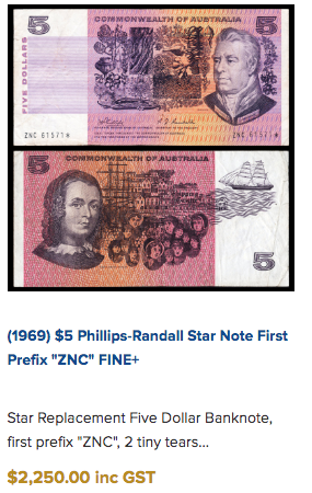 A 1969 Philips-Randall $5 note is selling for a whopping $2,250. Source: M.R Roberts Wynyard Coins.