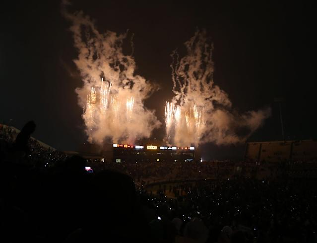 Fireworks exploded over Baylor's University's Floyd Casey stadium following their last NCAA college football game in the the stadium, against Texas, on Saturday, Dec. 7, 2013, in Waco, Texas. Baylor won 30-10. Baylor will move to their new riverfront stadium next year. (AP Photo/Waco Tribune Herald, Rod Aydelotte)