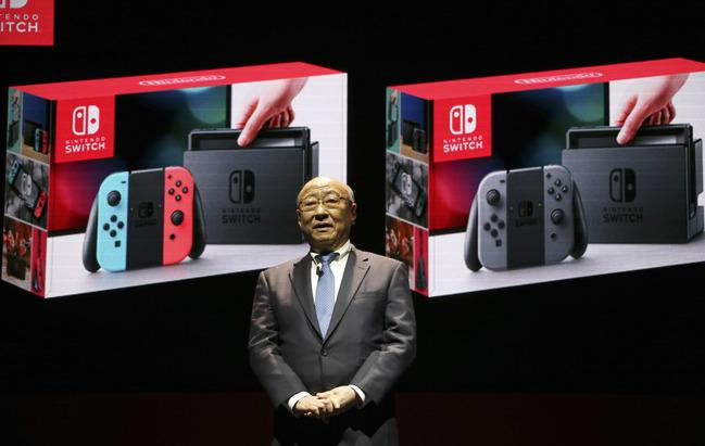 Nintendo president Tatsumi Kimishima speaking at the launch of the new console (Rex)