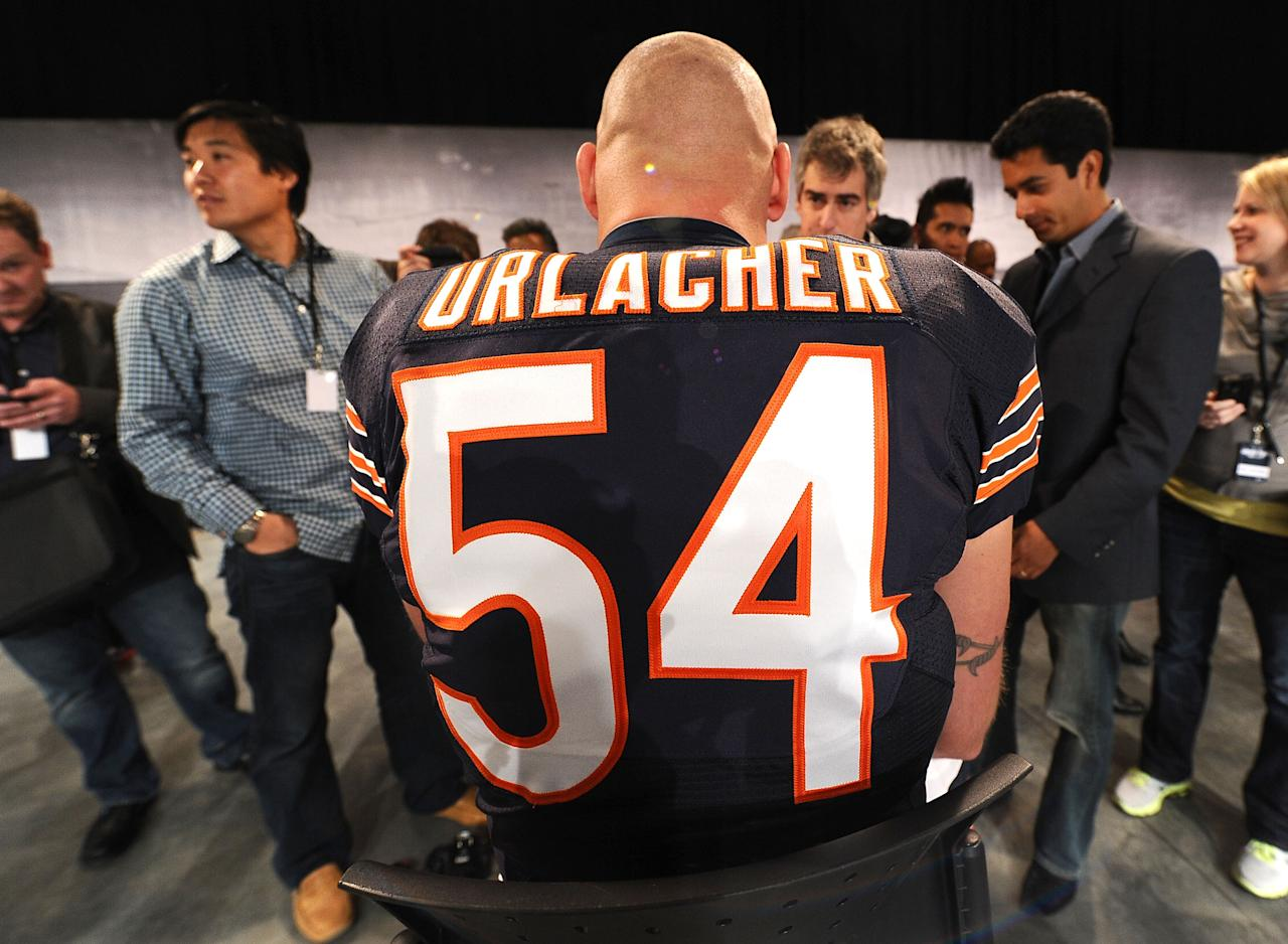 NEW YORK, NY - APRIL 03: Chicago Bears, Brian Urlacher is interviewed as Nike debuts their new NFL uniforms on April 3, 2012 in New York City.  (Photo by Larry Busacca/Getty Images for Nike)