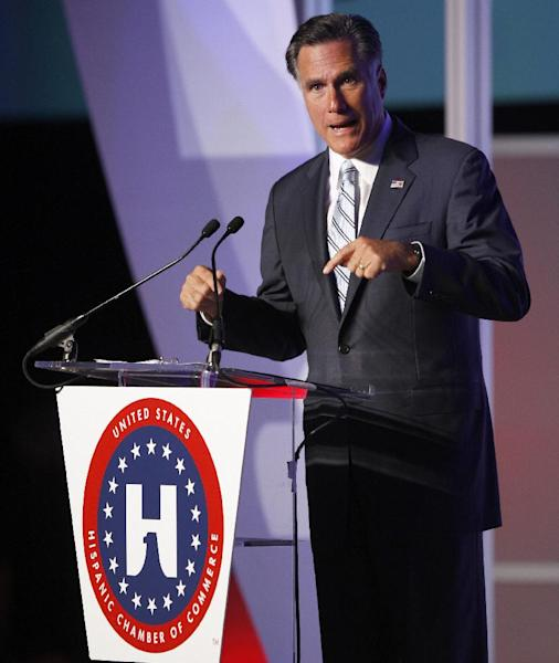 FILE - In this Sept 17, 2012 file photo, then-Republican presidential candidate, former Massachusetts Gov. Mitt Romney addresses the U.S. Hispanic Chamber of Commerce in Los Angeles. Having lost the popular vote in five of six presidential elections, Republicans are plunging into intense self-examination. Hard-core conservatives say the party should abandon comparative centrists like John McCain and Mitt Romney. But establishment Republicans note the party still runs the House and President Obama's popular-vote margin was smaller than before. Perhaps the GOP's biggest challenge: improving relations with America's fast-growing Hispanics. (AP Photo/David McNew, File)