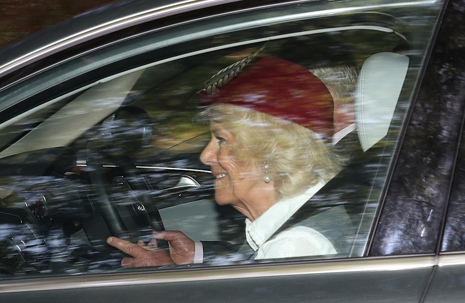 The Prince of Wales and Duchess of Cornwall leave Crathie Kirk after the Sunday church service near Balmoral, where members of the royal family are currently spending their summer holidays.