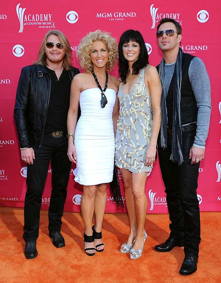 "Little Big Town's Phillip Sweet, Karen Fairchild, Kimberly Roads, and Jimi Westbrook looked ready for a night out in Vegas, but not necessarily an awards show! Denise Truscello/<a href=""http://www.wireimage.com"" target=""new"">WireImage.com</a> - April 5, 2009"
