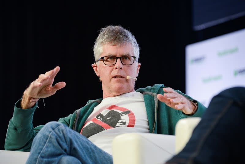 FILE PHOTO: Patrick Brown, founder and CEO of Impossible Foods discusses building a business around removing animals from the human food chain during the TechCrunch Disrupt forum in San Francisco