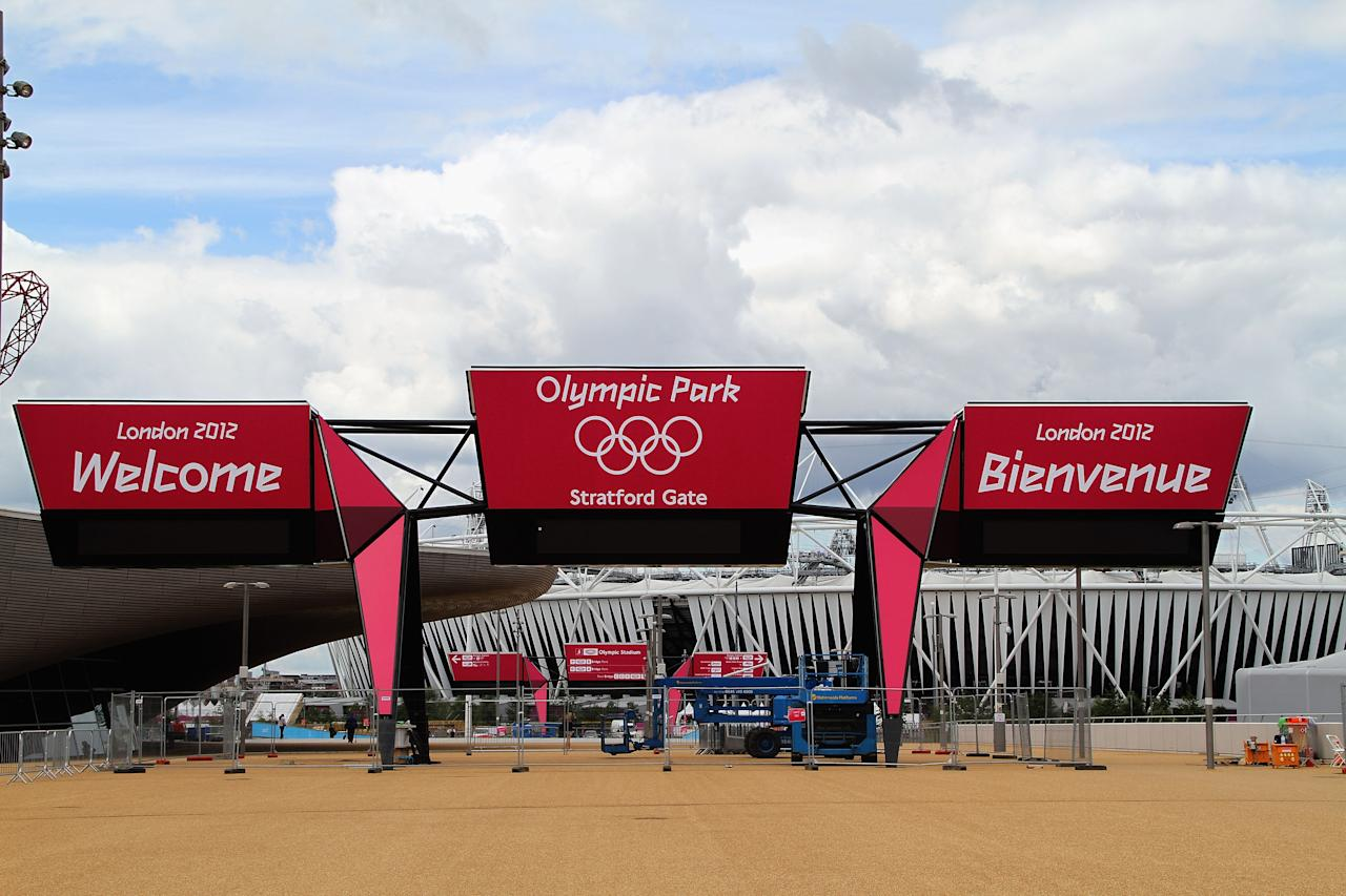 LONDON, ENGLAND - JULY 15: The Welcome Signage displays at the main entrance to the Olympioc Stadium at the Olympic Park on July 15, 2012 in London, England.  (Photo by Stanley Chou/Getty Images)