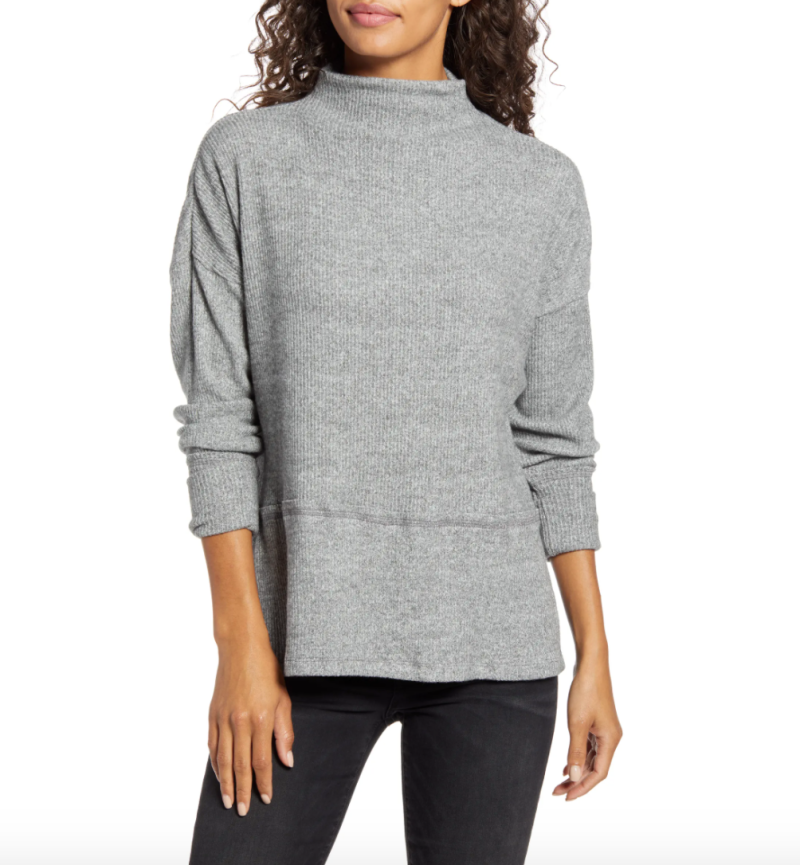 Caslon Rib Funnel Neck Sweater in Grey Heather (Photo via Nordstrom)