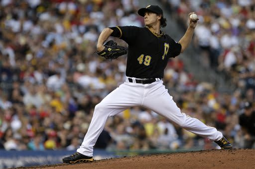 Pittsburgh Pirates starting pitcher Jeff Locke (49) delivers during the third inning of a baseball game against the Philadelphia Phillies in Pittsburgh, Wednesday, July 3, 2013. (AP Photo/Gene J. Puskar)