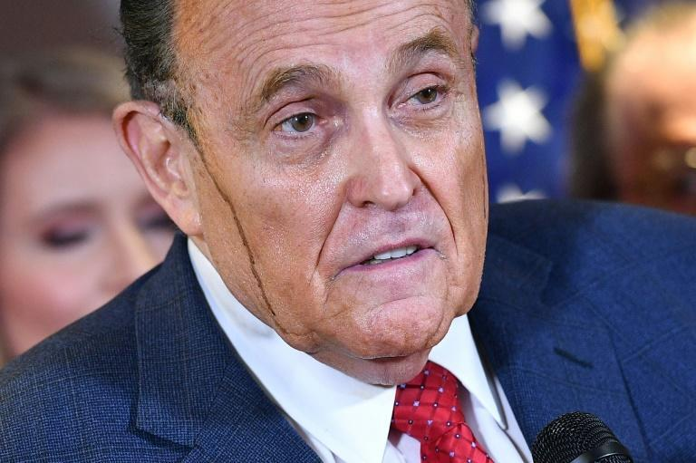 With hair dye streaming down his cheeks the president's lawyer Rudy Giuliani unleashed eyebrow-raising claimsat a press conference at the Republican National Committee headquarters in Washington, DC