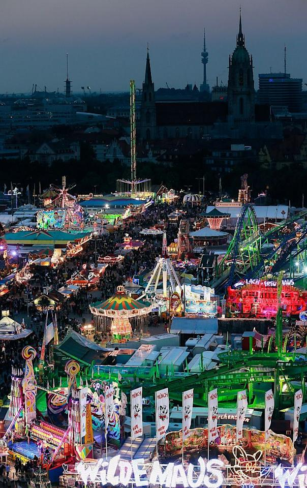 A view of the Oktoberfest beer festival from the giant ferris wheel in the fairground. The original Oktoberfest has inspired clones around the world, nearly all devoted to beer.