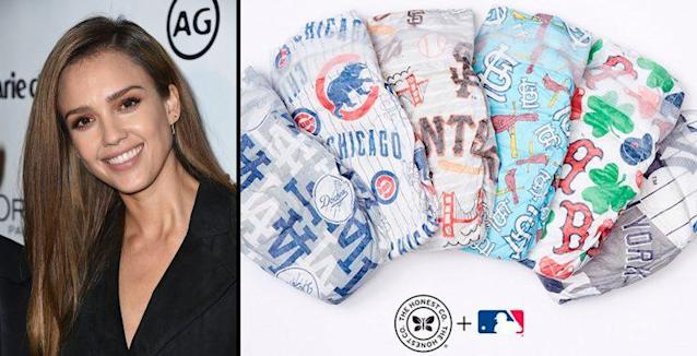 Jessica Alba's company launched a diaper line aimed at baseball fans. (AP/MLB)