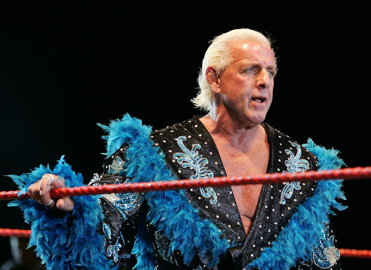 <p>Ric Flair looks on while awaiting the entrance of Hulk Hogan during the Hulkamania Tour at the Burswood Dome on November 24, 2009 in Perth, Australia. (Photo by Paul Kane/Getty Images) </p>