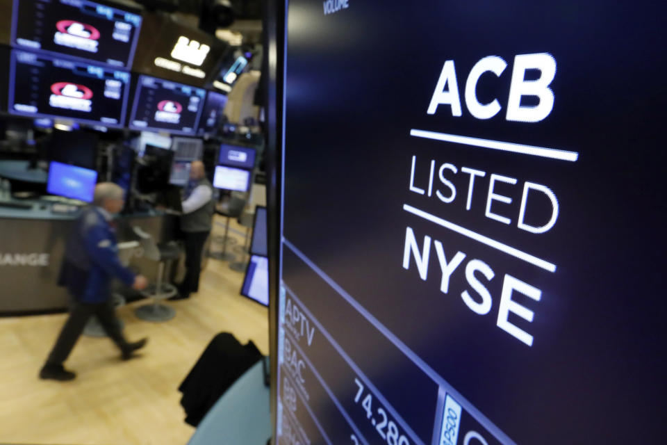 The symbol for Aurora Cannabis appears above a trading post on the floor of the New York Stock Exchange as the Canadian company lists, Tuesday, Oct. 23, 2018. (AP Photo/Richard Drew)