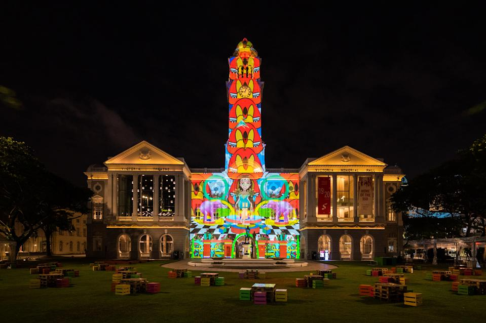 Victoria Concert Hall and Theatre at Light to Night Festival 2020: Invisible Cities in Singapore. (PHOTO: National Gallery Singapore)