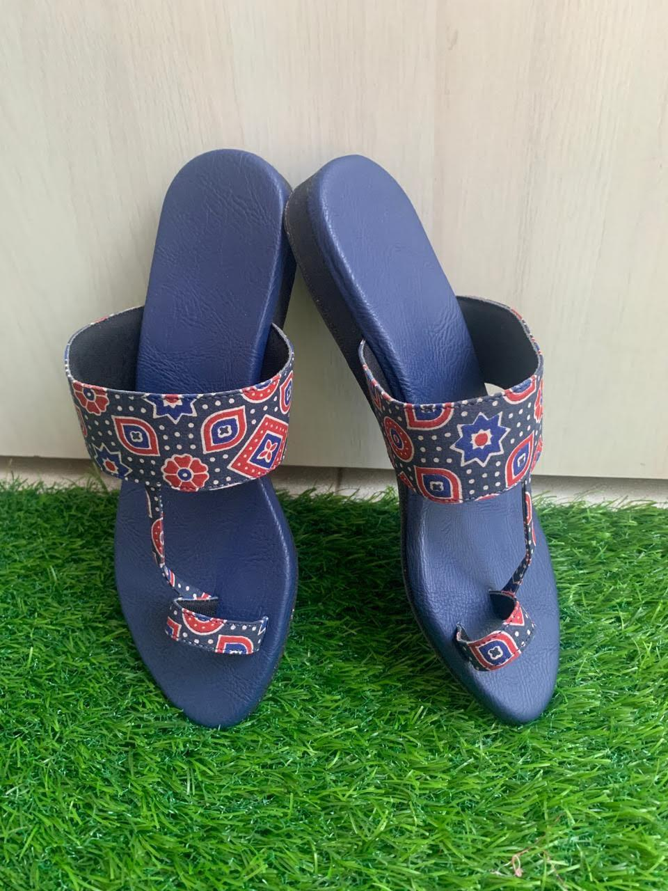 Hand block printed ajrakh with deep blue bottoms