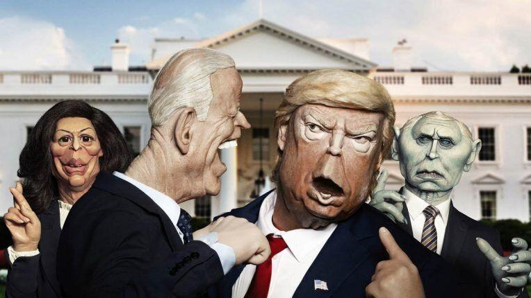 Kamala Harris, Joe Biden, Donald Trump and Mike Pence as depicted in Spitting Image (Photo: BritBox)
