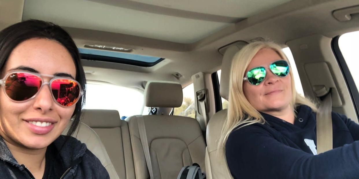 A selfie taken by Princess Latifa (L) of herself and Tiina Jauhiainen (R) during their escape to Muscat, Oman, on February 24, 2018.