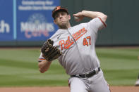 Baltimore Orioles starting pitcher John Means throws against the Seattle Mariners during the seventh inning of a baseball game, Wednesday, May 5, 2021, in Seattle. (AP Photo/Ted S. Warren)