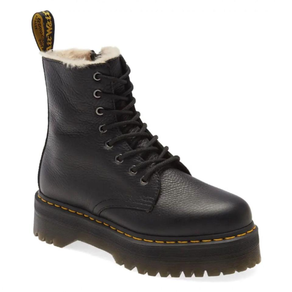"""Long live the <a href=""""https://www.glamour.com/story/dr-martens-jadon-boots-review?mbid=synd_yahoo_rss"""" rel=""""nofollow noopener"""" target=""""_blank"""" data-ylk=""""slk:Jadon Boot"""" class=""""link rapid-noclick-resp"""">Jadon Boot</a> (and this faux fur-lined version we need ASAP). $190, Nordstrom. <a href=""""https://www.nordstrom.com/s/dr-martens-jadon-platform-boot-women/5261639"""" rel=""""nofollow noopener"""" target=""""_blank"""" data-ylk=""""slk:Get it now!"""" class=""""link rapid-noclick-resp"""">Get it now!</a>"""