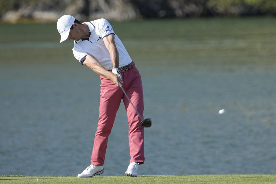 Billy Horschel hits his drive on the 14th hole during the final round of the Dell Technologies Match Play Championship golf tournament Sunday, March 28, 2021, in Austin, Texas. (AP Photo/David J. Phillip)