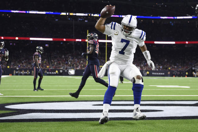 Indianapolis Colts quarterback Jacoby Brissett (7) celebrates as he scores a touchdown against the Houston Texans during the first half of an NFL football game Thursday, Nov. 21, 2019, in Houston. (AP Photo/Eric Christian Smith)