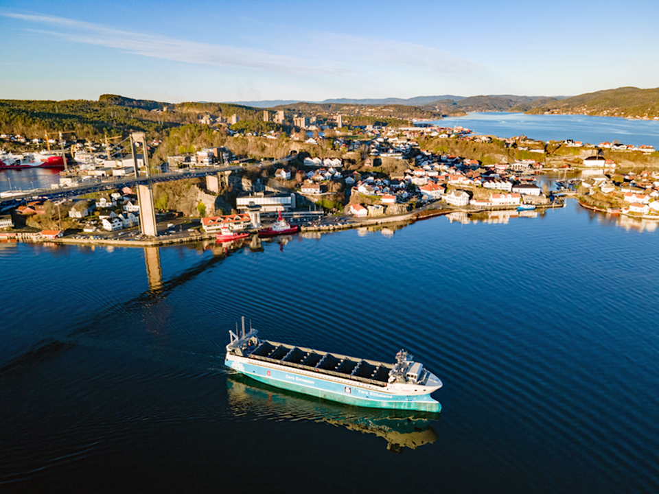 The Yara Birkeland's maiden commercial voyage will take place between Herøya and Brevik in Norway without a single crew member onboard  (Knut Brevik Andersen, Wilhelmsen Ship Service)
