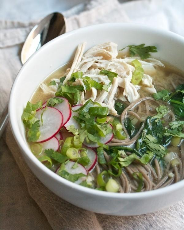 """<p>""""I love chicken soba soup with miso because it's cozy and healthy, but most of all because you build up the chicken broth by browning the meat and adding aromatics as you make the soup. So you don't need to have stock (homemade or purchased) to make this."""" -Cara of <a href=""""http://www.biggirlssmallkitchen.com/2013/10/chicken-soba-soup-with-miso-and-spinach.html"""">Big Girls Small Kitchen</a></p>"""