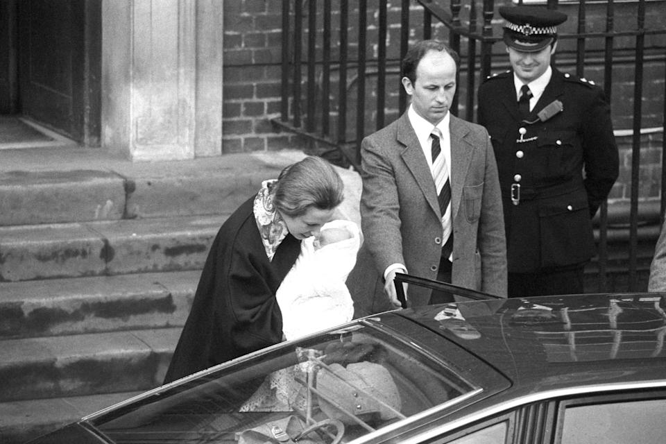 Princess Anne leaves the Lindo Wing of St Mary's Hospital with her three-day-old daughter Zara.   (Photo by PA Images via Getty Images)
