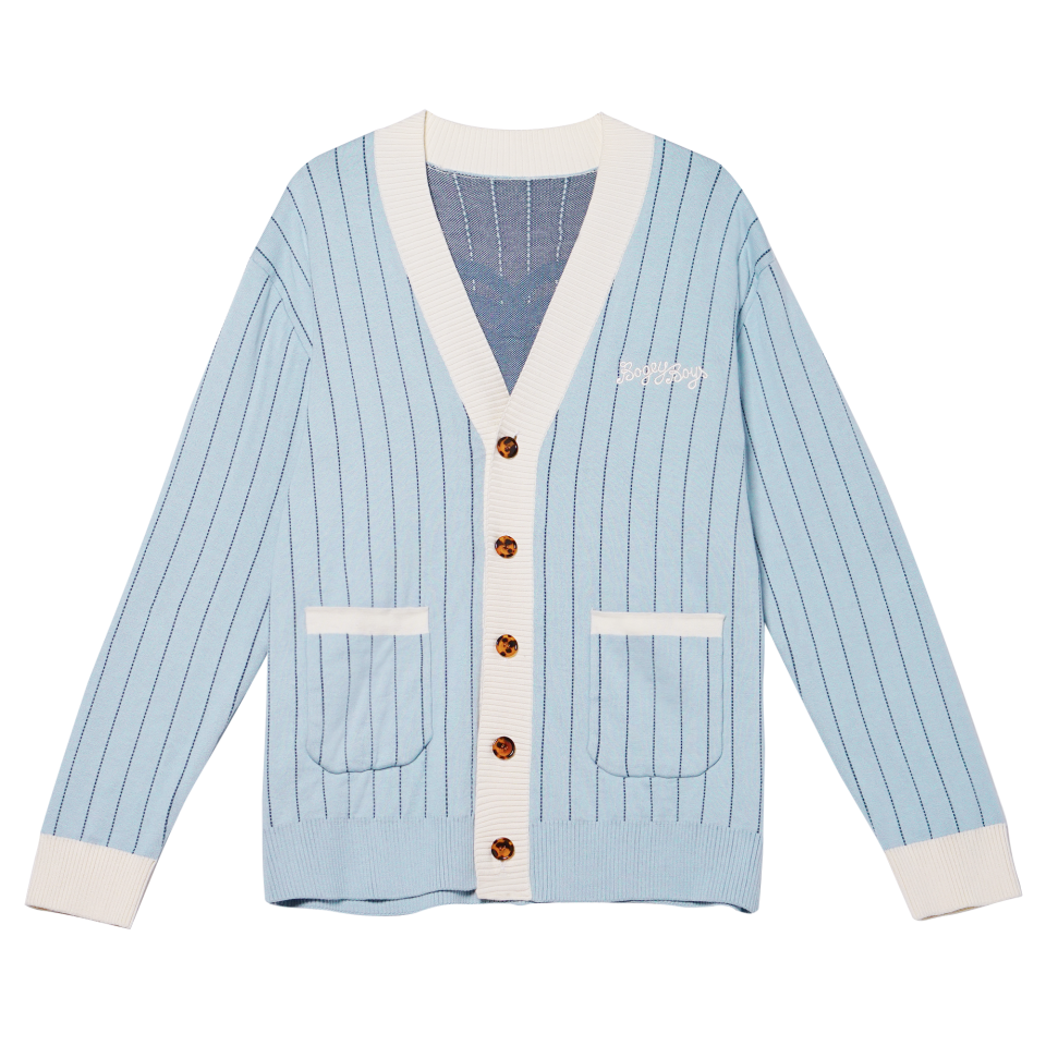 "<p><strong>Pinstripe Cardigan</strong></p><p>bogeyboys.com</p><p><strong>$120.00</strong></p><p><a href=""https://bogeyboys.com/collections/w-sp-2021/products/cardigan"" rel=""nofollow noopener"" target=""_blank"" data-ylk=""slk:Shop Now"" class=""link rapid-noclick-resp"">Shop Now</a></p><p>Bogey Boys' golf gear looks like it comes straight out of the '50s. But, in fact, rapper Macklemore created the brand in 2021 after he fell in love with golf. The brand's pinstriped cardigan is a surefire flex. </p>"